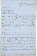 """Autographs:U.S. Presidents, Abraham Lincoln Autograph Legal Document Signed """"Lincoln &Herndon for defts"""". Two pages (front and verso of singleblue..."""
