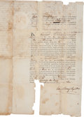 """Autographs:Statesmen, Caesar Rodney Document Signed as Delaware's register of wills.Three partially-printed pages, 8"""" x 13.25"""", Kent County, ..."""