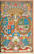 Books:Manuscripts, Royal Spanish Illuminated Document Bestowing the Noble Title, Condede Tepa, on Don Francisco de Leandro de Viana, 1775. Twe...