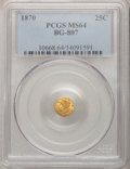 California Fractional Gold: , 1870 25C Liberty Round 25 Cents, BG-807, Low R.7, MS64 PCGS. PCGSPopulation (8/1). NGC Census: (2/0). (#10668)...