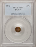 California Fractional Gold: , 1873 25C Indian Round 25 Cents, BG-874, Low R.6, MS64 PCGS. PCGSPopulation (8/3). NGC Census: (1/0). (#10735)...