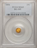 California Fractional Gold: , 1854 25C Liberty Octagonal 25 Cents, BG-105, R.3, MS65 PCGS. PCGSPopulation (21/5). NGC Census: (10/4). (#10374)...