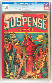 Suspense Comics #3 (Continental Magazines, 1944) CGC FR/GD 1.5 Off-white to white pages