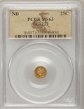 California Fractional Gold: , Undated 25C Liberty Round 25 Cents, BG-222, R.2, MS63 PCGS. PCGSPopulation (107/121). NGC Census: (18/31). (#10407)...