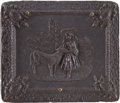 "Photography:Ambrotypes, Brown Ninth Plate Thermoplastic Case ""Mary and Her Little Lamb.""..."