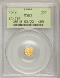 California Fractional Gold: , 1872 25C Indian Octagonal 25 Cents, BG-791, R.3, MS63 PCGS. PCGSPopulation (74/109). NGC Census: (13/39). (#10618)...
