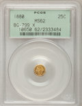 California Fractional Gold: , 1880 25C Indian Octagonal 25 Cents, BG-799X, R.3, MS62 PCGS. PCGSPopulation (30/131). NGC Census: (6/30). (#10650)...