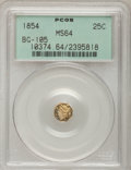California Fractional Gold: , 1854 25C Liberty Octagonal 25 Cents, BG-105, R.3, MS64 PCGS. PCGSPopulation (67/26). NGC Census: (17/14). (#10374)...