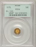 California Fractional Gold: , 1876 50C Indian Octagonal 50 Cents, BG-949, R.4, MS64 PCGS. PCGSPopulation (32/5). NGC Census: (4/3). (#10807)...
