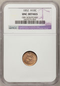 Seated Half Dimes: , 1852 H10C --Obv Scratched--NGC Details. UNC. NGC Census: (1/135).PCGS Population (7/114). Mintage: 1,000,500. Numismedia Ws...