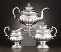 Silver Holloware, American:Tea Sets, AN AMERICAN THREE-PIECE COIN SILVER TEA SERVICE . Peter Chitry, NewYork, New York, circa 1835. Marks: P. Chitry, T&H. 1...(Total: 3 Items)