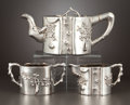 Silver & Vertu:Hollowware, A THREE-PIECE CHINESE EXPORT SILVER TEA SET . Unidentified maker, possibly Shanghai, China, circa 1880-1925. Marks: (shop ma... (Total: 3 Items)