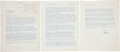 """Autographs:U.S. Presidents, Ronald Reagan Typed Letter Signed """"Ronnie."""" Three pages, 8.5"""" x 11"""", [Los Angeles], November 6, 1945, to journalist Walt... (Total: 3 Items)"""