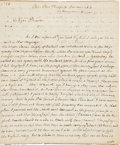 "Autographs:Statesmen, Thomas Paine Autograph Letter Signed Regarding His Plan for a Descent on England. Two pages, 7.4"" x 9"", taking up pages one ..."