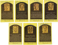 Baseball Collectibles:Others, Hall of Fame Signed Plaque Postcards Lot of 7....