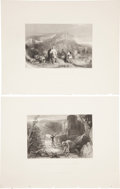 Antiques:Posters & Prints, Five Early 19th Century Steel Engraved Illustrations of BattleScenes. 11 inches x 8.5 inches. From Fisher's Drawing Room ...(Total: 5 Items)