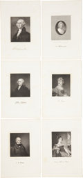 Antiques:Posters & Prints, Six Steel Engraved Portraits of George Washington, John Adams, JohnQ. Adams and Their Wives From the National Portrait Galler...(Total: 6 Items)