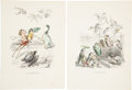 Antiques:Posters & Prints, Six French 19th Century Hand-Colored Prints Depicting WhimsicalScenes. From Un Autre Monde by Grandville [Jean-Ignace-...(Total: 6 Original Art Items)