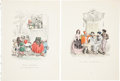 Antiques:Posters & Prints, Six French 19th Century Hand-Colored Prints Depicting Whimsical Scenes. From Un Autre Monde by Grandville [Jean-Ignace-...