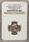 Errors, 1961 5C Jefferson Nickel Struck on a Ragged Clipped Planchet AU58NGC. NGC Census: (0/186). PCGS Population (1/390). Mintag...