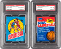 Basketball Cards:Lots, 1975 Topps and 1986 Fleer Basketball PSA-Graded Wax Packs Lot of2....