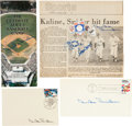Baseball Collectibles:Others, Duke Snider, Willie Mays, Joe DiMaggio and Mickey Mantle SignedMemorabilia Lot of 4....