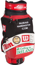 Golf Collectibles:Bags/Flagsticks/Clothing, Padraig Harrington Match Used, Signed Bag From 2004 U.S. Open....
