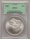 Morgan Dollars: , 1890 $1 MS64 PCGS. PCGS Population (3021/354). NGC Census:(3530/259). Mintage: 16,802,590. Numismedia Wsl. Price for probl...
