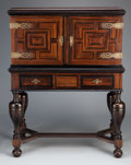 Furniture : Continental, A CONTINENTAL AMBOYNA AND TORTOISESHELL CABINET ON STAND . Maker unknown, possibly Flemish, 18th century. Unmarked. 51-1/8 x...