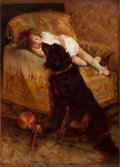 Fine Art - Painting, American:Antique  (Pre 1900), ELIZABETH STRONG (American, 1855-1941). Sleeping Child withDog, 1887. Oil on canvas . 54 x 38-3/4 inches (137.2 x 98.4 ...