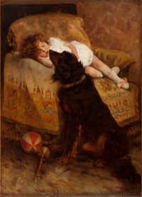 ELIZABETH STRONG (American, 1855-1941) Sleeping Child with Dog, 1887 Oil on canvas 54 x 38-3/4 i