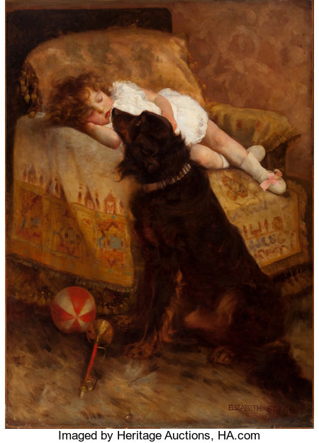 ELIZABETH STRONG (American, 1855-1941)Sleeping Child with Dog, 1887Oil on canvas 54 x 38-3/4 inches (137.2 x 98.4 ...
