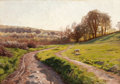 Fine Art - Painting, European:Modern  (1900 1949)  , PEDER MORK MONSTED (Danish, 1859-1941). Landscape with Sheep, 1913. Oil on canvas. 14 x 20 inches (35.6 x 50.8 cm). Sign...
