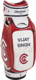 Golf Collectibles:Bags/Flagsticks/Clothing, Vijay Singh Match Used, Signed Bag From 2009 U.S. Open....