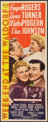 """Week-End at the Waldorf (MGM, 1945). Insert (14"""" X 36""""). Comedy"""