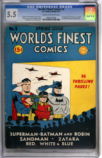 World's Finest Comics #5 (DC, 1942) CGC FN- 5.5 Cream to off-white pages. Batman and Superman headlined the usual all-st...