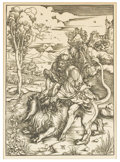 Prints:Old Master, ALBRECHT DURER (German, 1471-1528). Samson Rending the Lion.Print of a woodcut, Twentieth Century. 16in. x 11-1/2in.. I...(Total: 1 Item)