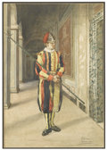 Works on Paper, JOSE JULIANA Y ALBERT (Spanish, 1840-1890). Roman Guard, 1879. Watercolor on paper. 14-1/2in. x 10in.. Signed at lower r...