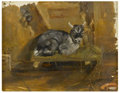 Fine Art - Painting, European:Antique  (Pre 1900), FRENCH SCHOOL (Nineteenth Century). Recumbant Goat. Oil oncanvas. 6-1/4in. x 7-3/4in.. Initialed at lower right ED...