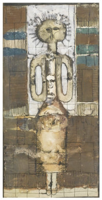 JAN LEBENSTEIN (Polish, 1930-1999) Abstract Woman Ink and wash on paper 23-1/2in. x 12in. Signed at lower left JAN