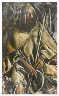 MORTON ROBERTS (American, 1927-1964) Portrait of Man with Staff, 1952 Oil on canvas 50-1/2in. x 30in. Signed at lowe