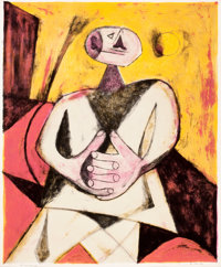 RUFINO TAMAYO (Mexican, 1899-1991) La Femme Avec Mains Joints , 1951 Lithograph in colors 25-1/2