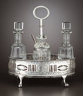 Silver Holloware, British:Holloware, A GEORGE III SILVER CRUET STAND WITH FOUR GLASS BOTTLES . ThomasDaniell, London, England, 1784-1785. Marks: (lion passant),...(Total: 5 Items)