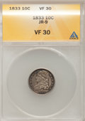 Bust Dimes: , 1833 10C VF30 ANACS. JR-9. NGC Census: (4/247). PCGS Population(5/277). Mintage: 485,000. Numismedia Wsl. Price for probl...