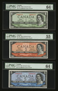 Canadian Currency: , 1954 Matching Serial Number 132 Devil's Face Portrait Trio. ...(Total: 3 notes)