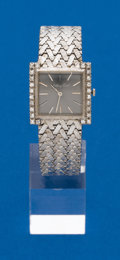 Timepieces:Wristwatch, Mathey Tissot Gents 14k White Gold & Diamond Wristwatch. ...