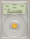 California Fractional Gold, 1880 50C Indian Octagonal 50 Cents, BG-954, Low R.4, MS66 PCGS....