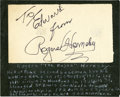 Baseball Collectibles:Others, Rogers Hornsby Signed Cut Signature. ...