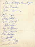 Baseball Collectibles:Others, 1947 Pittsburgh Pirates Team Signed Sheet - W/ Honus Wagner....