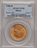 Indian Eagles: , 1908-D $10 Motto VF30 PCGS. PCGS Population (2/563). NGC Census:(2/575). Mintage: 836,500. Numismedia Wsl. Price for probl...